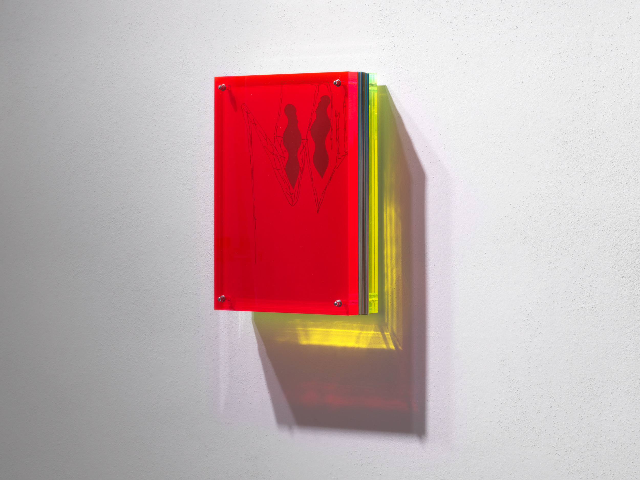 Installation view by Francesco Candeloro, Linee del Tempo, 2016, 29,7 x 21 x 6 cm closed, decoupage and felt-tip pen on paper acetate and plexiglass