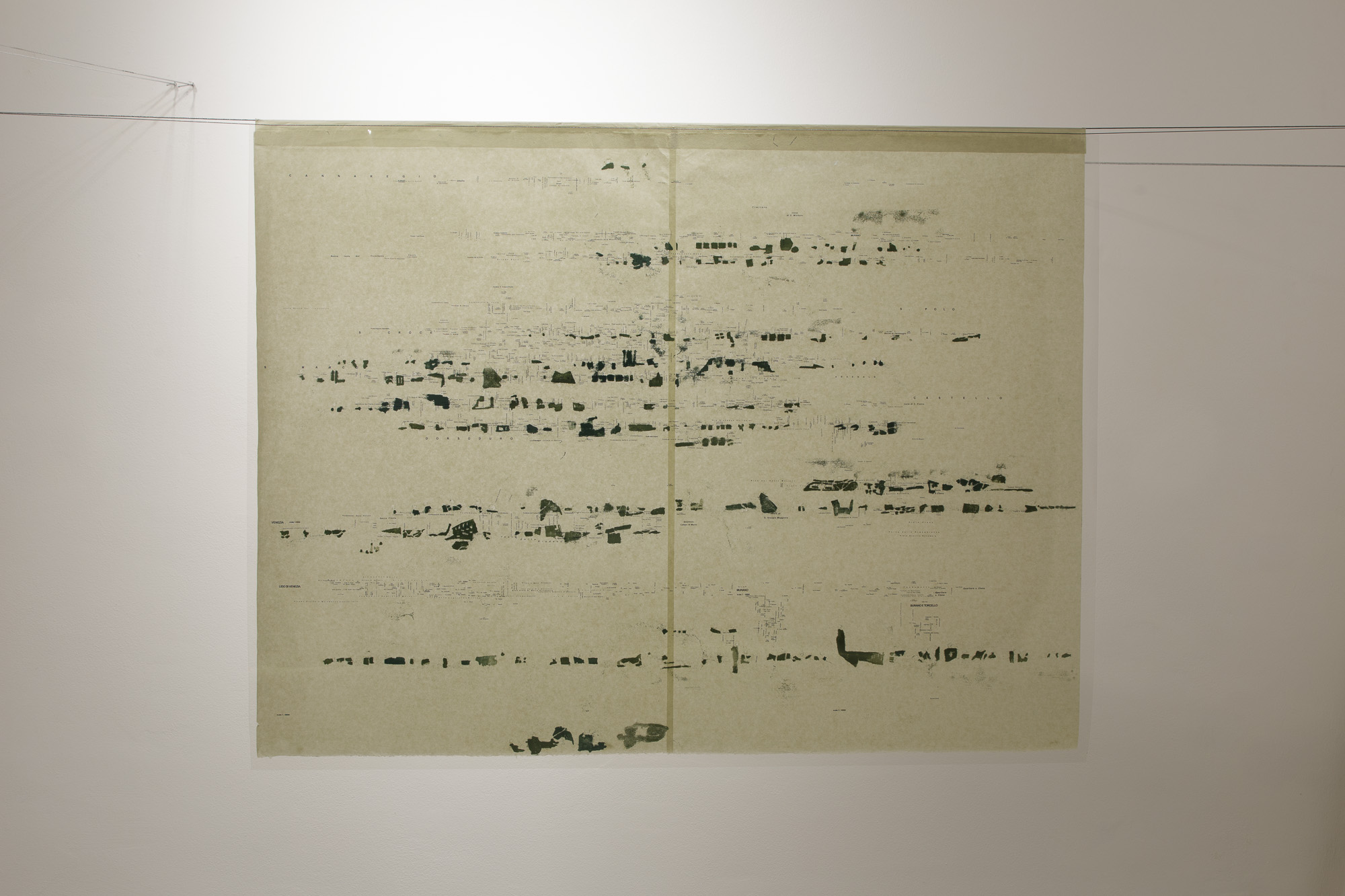 Installation view by Laura Bisotti, Quando scivolerà, 2016, Monotype on Senkwann 40 gsm. paper and digital print on acetate paper, 94 x 126 cm each