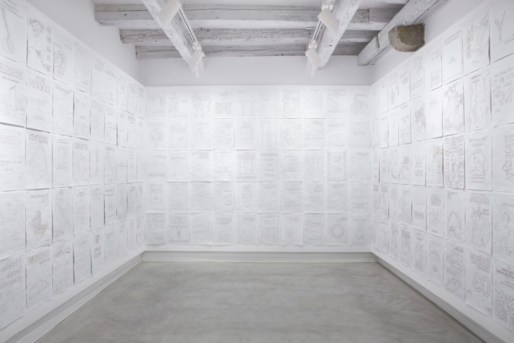 Installation view, Marignana Arte, Copertine, Stefano Arienti, Copertine, 2012, Clay and perforated paper