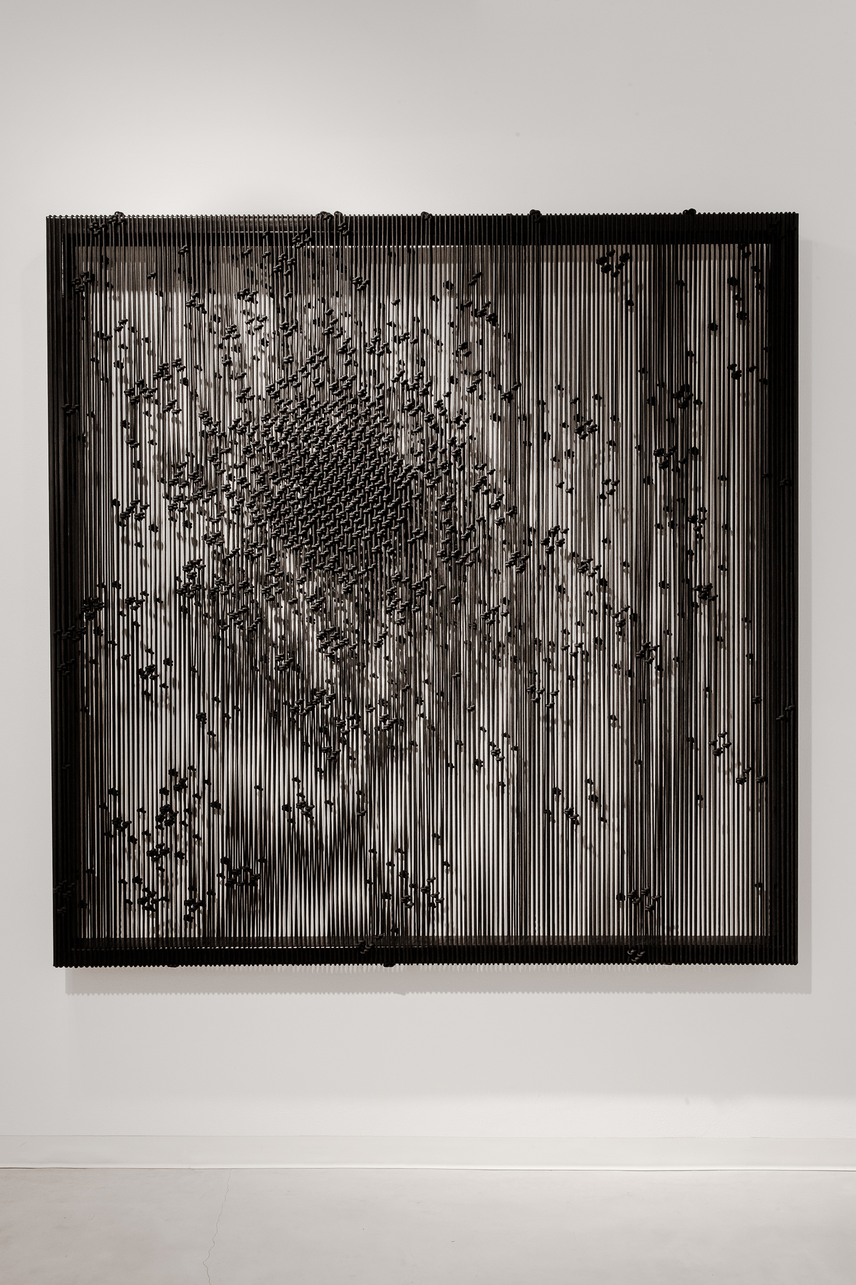 Arthur Duff, Fragment_M10, 2015, Black polyester rope and black iron framework, 160 x 160 x 12 cm