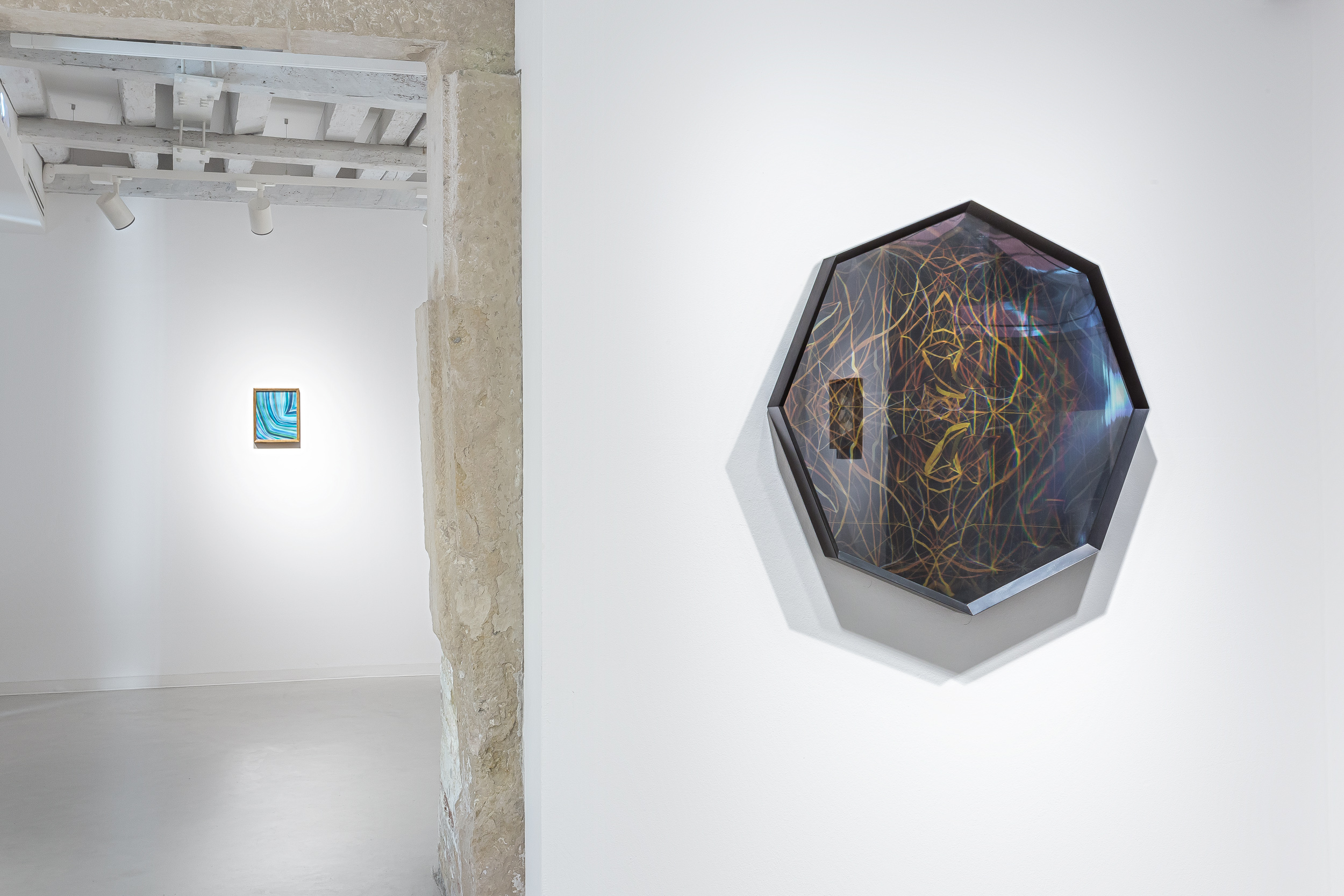 Installation view of Invisible-no, Maurizio Donezlli, Eccetera Drawing, 2016, acrylic, Mirror octagonal, 2016, mix media in box