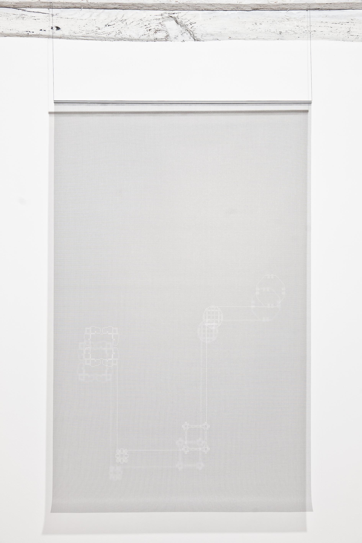 Installation view by Aldo Grazzi, Contatti I, 2001, net in cut fibre, 100 x 165 cm