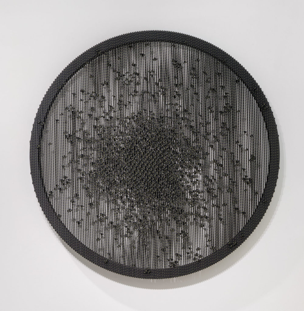 Arthur Duff, Nera Luce_Dust in my eye, 2017, Polyester rope and wooden framework, diameter 140 cm