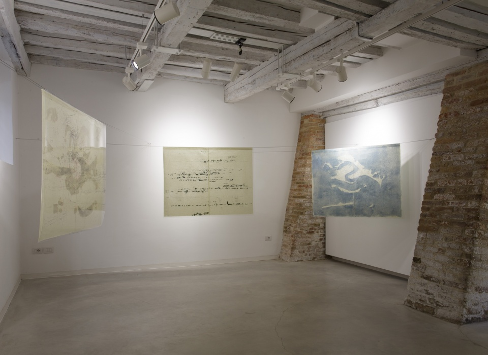 Installation view of Quando Scivolerà, Laura Bisotti, three elements, Monotype on Senkwann 40 gsm. paper and digital print on acetate paper, 94 x 126 cm each