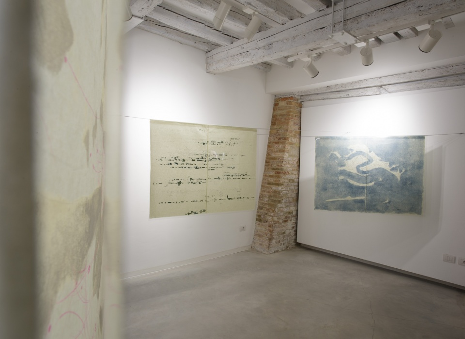 Installation view of Quando Scivolerà, Laura Bisotti,three elements, Monotype on Senkwann 40 gsm. paper and digital print on acetate paper, 94 x 126 cm each