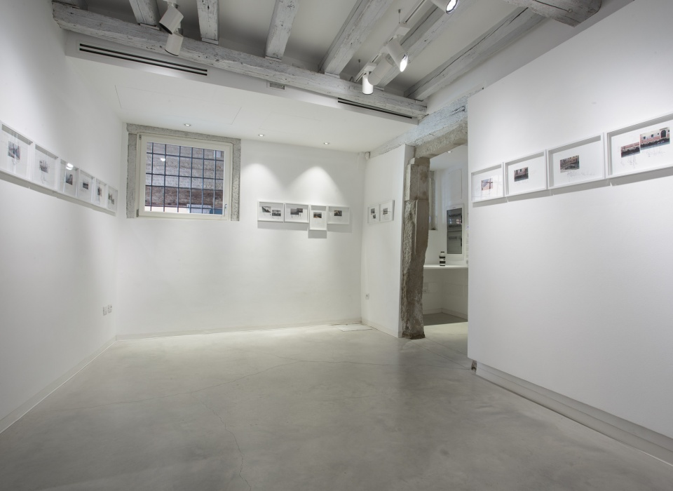 Installation view of Quando Scivolerà, Laura Bisotti, 20 elements, Ipotesi, 2016, 25 x 35 cm, collage of digital photos, drawings and writing on Fabriano F4 paper