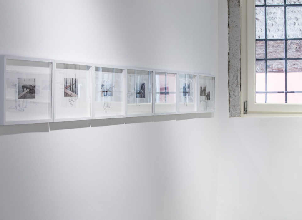 Installation view of Quando Scivolerà, Laura Bisotti, 6 elements, Ipotesi, 2016, 25 x 35 cm, collage of digital photos, drawings and writing on Fabriano F4 paper