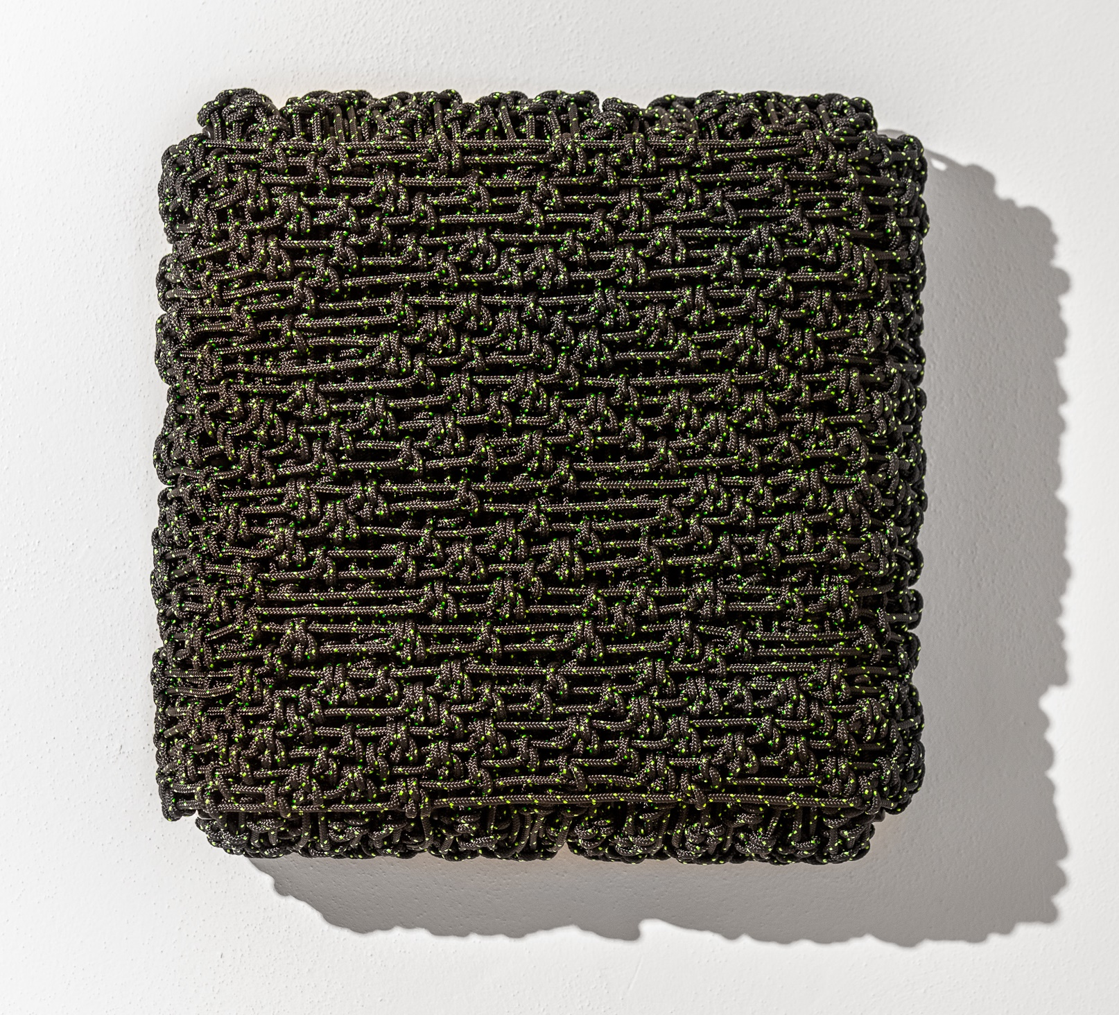 Arthur Duff, Fragment_M55, 2015, black and green polyester rope and alluminium frame