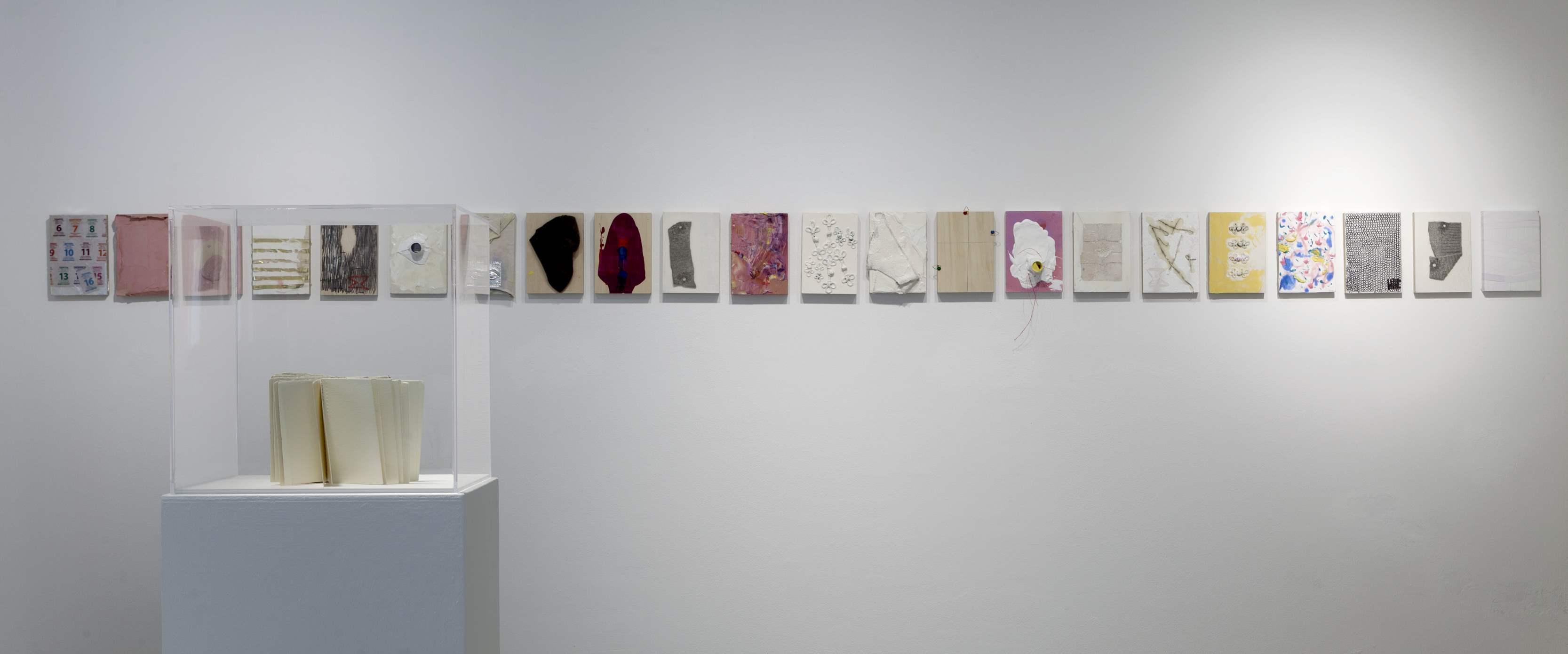 Installation view, Marignana Arte, Hotel nostos. Humble, nimble, dreamlike tumble, Sofia Stevi, Spine book, 2009, diary series