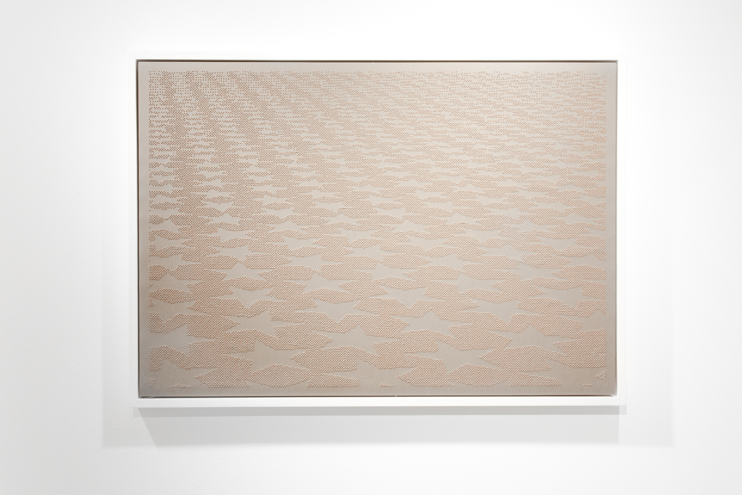 Arthur Duff, Parallax view, 2012, drilled gray paper, 70 x 100 cm