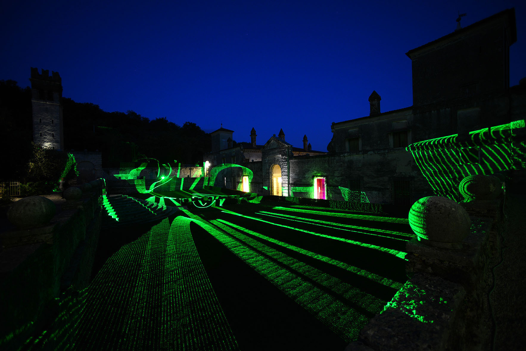 Installation view of Synopses, 2013, laser site specific, variable measures, Villa della Torre Allegrini, Verona