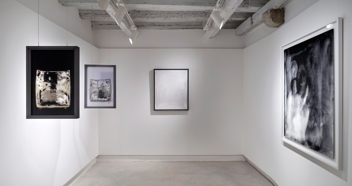 Installation view, Marignana Arte, Hour-Glass, Alessandro Diaz De Santillana & Laura De Santillana, Untitled, 2014, Digital print on Hahnemuhle paper, HGS series, Hand-blown, slumped and mirrored glasson plywood