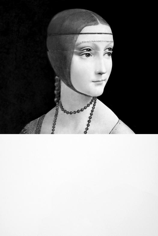 Mariella Bettineschi, L'Era Successiva (Leonardo Da Vinci, La dama con l'ermellino), 2010, direct print on plexiglass, 80 x 60 cm