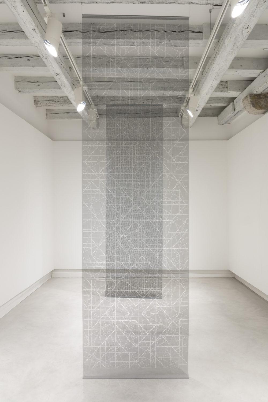installation view by Aldo Grazzi, Pieno 1, Pieno 2, Cut fiber nets, reti, trasparency, trasparenza